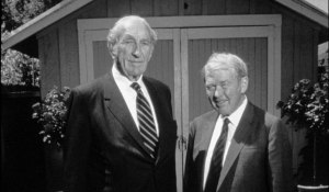 FILE--This is a 1989 file photo of David Packard, left, and Bill Hewlett, right, posing in front of the famous garage in Palo Alto, Calif., where they founded the Hewlett-Packard Company. Packard died on Tuesday, March 26, 1996 at age 83.  They were posing in honor of the 50th anniversary of their company. (AP Photo/Hewlett-Packard, Sam Forencich, ho)